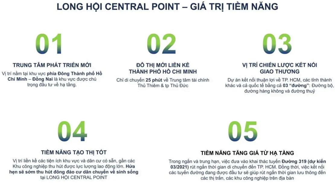 5 Giá trị Tiềm năng của Long Hội Central Point Nhơn Trạch Đồng Nai