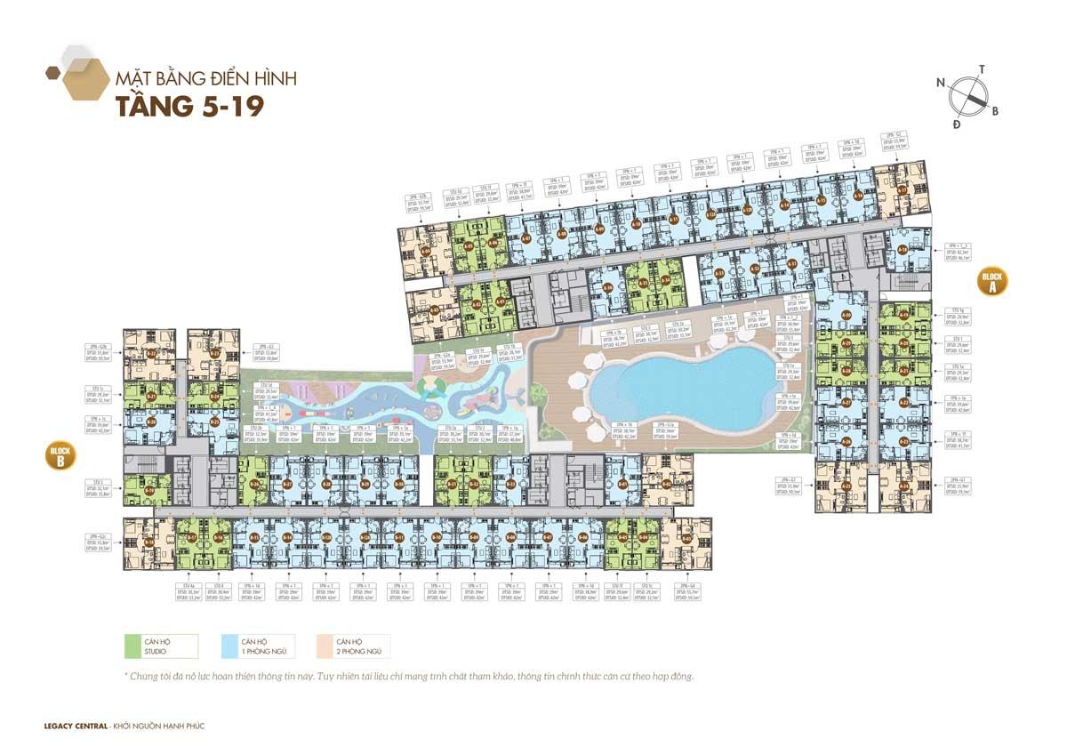 Mặt bằng Tầng 5-19 Dự án Legacy Central Thuận An Bình Dương